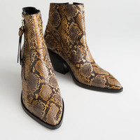 Leather Cowboy Ankle Boots - Snake - Ankleboots - & Other Stories