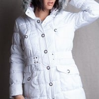 Dollhouse Belted Puffer Jacket With Faux Fur Trim Hood & Contrast Lining - White