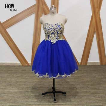 Short Prom Dresses 2018 Royal Blue Ball Gown Prom Dress With Gold Lace Sparkly Crystals Tulle Knee Length Sexy Party Gowns Cheap