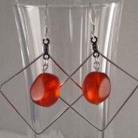 SEAE08 Earring made of Sea Glass in a Silver Plated Frame