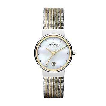 Women's Ancher Watch with Silvertone Case and Two-Tone Stainless Steel Mesh Skagen Denmark