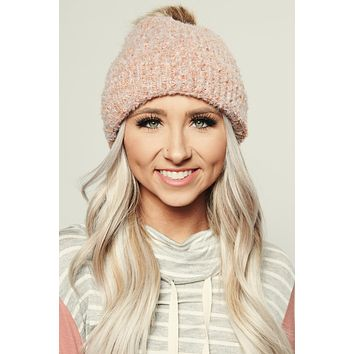 Making Me Blush Knitted Beanie (Blush)