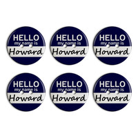 Howard Hello My Name Is Plastic Resin Button Set of 6