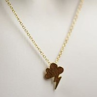 Gold Cloud with Lightening on Gold Filled Chain