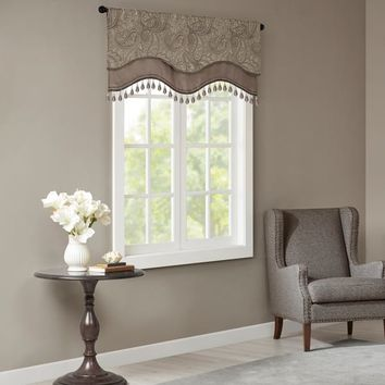 Madison Park Wellington Jacquard Window Rod Pocket Valance With Beads 3 Color Option | Overstock.com Shopping - The Best Deals on Valances