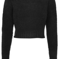 Boucle Knit Cropped Sweater - Black