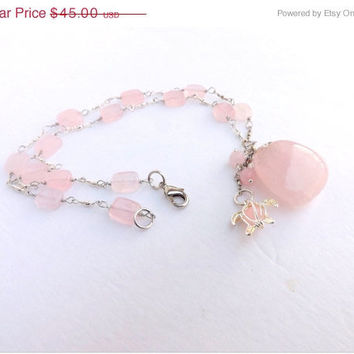 ON SALE Rose Quartz and Turtle Necklace,Turtle Locket Pendant, Silver wrapped with Solid Quartz Pendant, Fertility,Handmade by Lyrisgems.