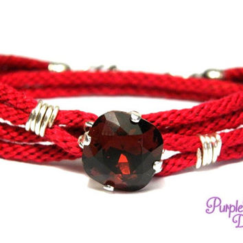 PEONY Wire wrapped Kumihimo Wrap Bracelet, Braided Wrap Bracelet with Swarovski Crystal Stone - Siam/Burgundy