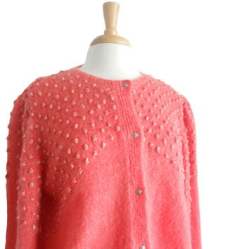 Vintage Knit Sweater Cardigan Handmade Coral Orange PInk - Woven Texture Detailing - Long Sleeves - XL