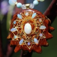 White Opal Multi-Stone 64 Star Tetrahedron and Back om