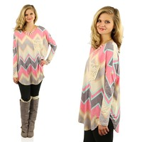 Pretty in Pastels Chevron Top