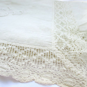 Vintage Dresser Scarf Cotton and Lace with Embroidered CL