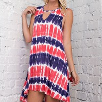 Keyhole Tie Dye Mini Dress - Navy/Red
