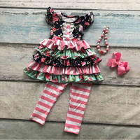 capris spring summer baby girls ruffles floral sleeveless clothing cotton boutique outfits striped with matching bow & necklace