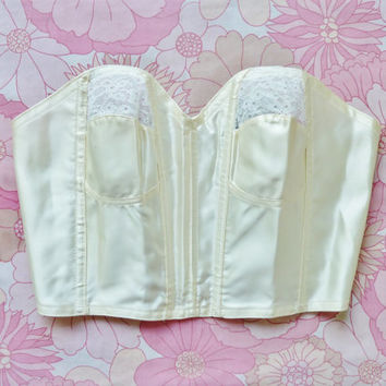 """vintage ivory bustier bra. 34"""" bust . cup A . ooh la la lingerie . burlesque . kayser tailored . sheer . poppies lace . glamour"""