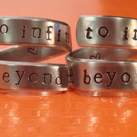 To Infinity And Beyond  - Friendship Rings - Toy Story Inspired - Aluminium Wrap Rings - Handed Stamped - set Of Two