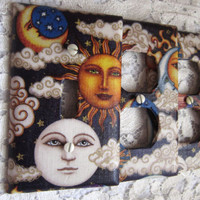 Light Switch Cover Light Switch Plate and Outlet Cover Set of Three in Celestial Bliss