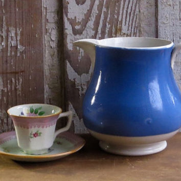 Vintage English Blue and White Pottery Pitcher, Milk Jug, Gresley, Serving Dish, Applied Handle, Country Kitchen Farmhouse Decor