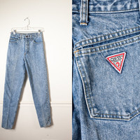 Vintage Acid Washed GUESS Jeans / High Waisted Jeans 90s Jeans 80s Jeans Grunge Preppy 80s Denim Skinny Jeans Mom Jeans Acid Washed Jeans