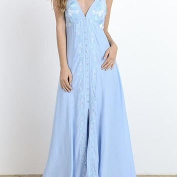 BABY BLUE EMBROIDERED MAXI DRESS