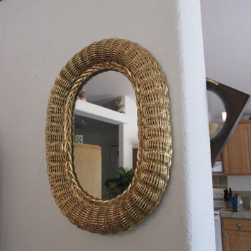 Vintage wicker  oval large mirror painted Gold