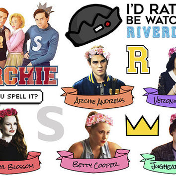 Riverdale sticker sheet | Bughead | Jughead Jones Archie Andrews Betty Coopper Veronica Lodge Cheryl Blossom | Bughead crown Pizza food