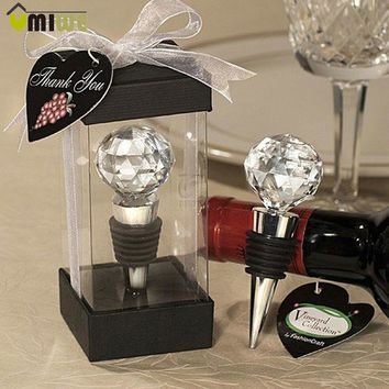 Wedding Decor Wine Champagne Stopper Elegant Crystal Red Wine Bottle Stopper Reusable Vacuum Sealed Wedding Party Favor Gift