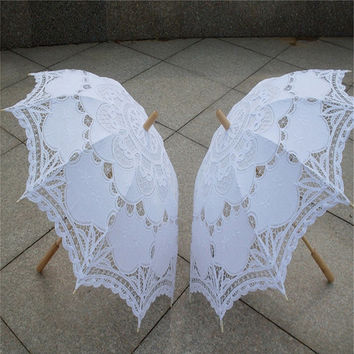 2017 Bridal Umbrella White Lace Parasol Handmade Summer Battenburg Lace Wedding Umbrella Wedding Decorations Wedding Accessories