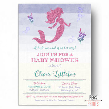 Mermaid Baby Shower Invitation - PRINTABLE Mermaid Baby Shower Invites - Under the Sea Baby Shower Invitation - Pink Glitter Mermaid
