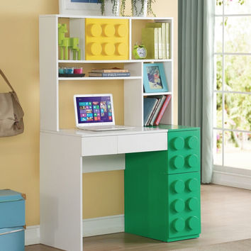 Acme 30753-54 2 pc Playground building blocks white finish wood writing desk and hutch