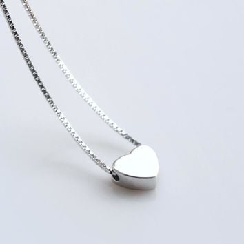 Cute Real. 925 Sterling silver jewelry Polished Heart Love Necklaces & Pendants for girls' friendship gift Fine jewelry GTLX627