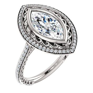 1.5 Ct Marquise Diamond Engagement Ring 14k White Gold
