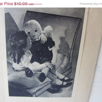 SPRING SALE Vintage Rag Doll Sewing Pattern 1940s with Several Outfits and Pets