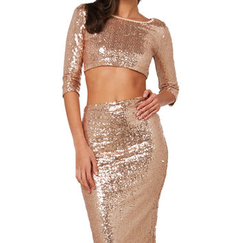 Courtney Sequin Skirt - Champagne