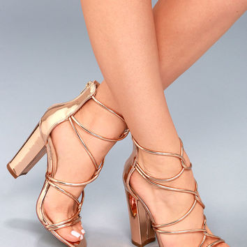 Beau Rose Gold Patent Dress Sandals