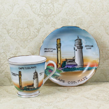 Vintage Cape Cod Souvenir Hand Painted Small Tea Cup and Saucer Made in Japan