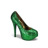 Sexy Green Glitter High Heel Platform Pump - 6