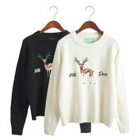 Women's Round Collar Long Sleeves Wild Deer Pattern Sweater