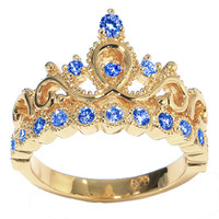 14K Yellow Gold Princess Crown CZ Birthstone Rings