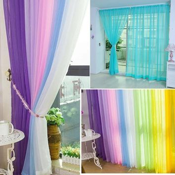 13 Colors Home Decor Gauze Door Window Curtain Drape Panel Sheers Pure Color 100*200cm