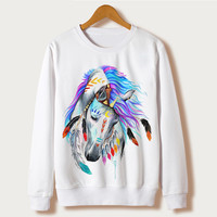 Horse Art Print 2016 Winter Women's Clothing Casual Ladies Sweatshirt Tumblr Full Sleeve O-neck Harajuku Hoodie Pullover White