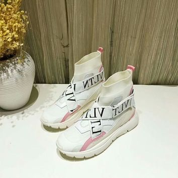 VALENTINO Women Fashion white high top boots Casual Sneaker sport Shoes Best quality