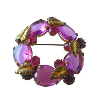 Austrian Crystal Purple Circle Pin / Vintage Jewelry / Costume Jewelry