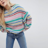 Pull&Bear Multi Stripe Oversized Jumper at asos.com