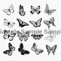 Butterfly Silhouette Nail Decals (1 sheet of 16 decals)