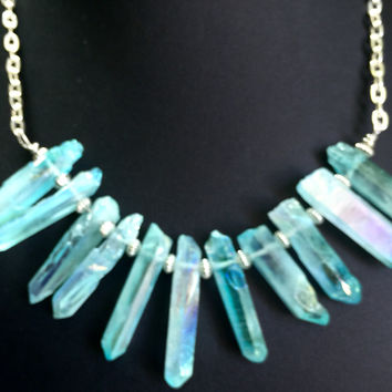 "16"" Aqua Aura Lemurian Seed Crystal Quartz Necklace"
