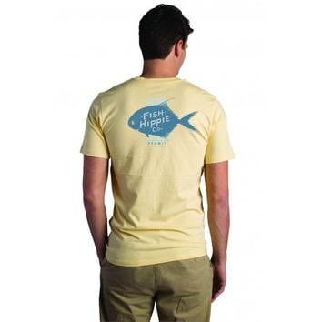 Fish Hippie, Flats Collection Permit Pocket Tee, Yellow