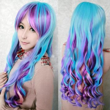 Bright Blue, Purple & Pink Long Curly Hair Wig