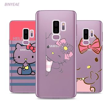 BINYEAE Hello Kitty Style Clear Soft TPU Phone Cases For Samsung Galaxy S9 S8 Plus S7 S6 S5 S4 Mini Edge