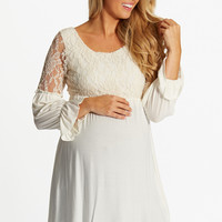 Ivory Lace Top Bell Sleeve Maternity Tunic